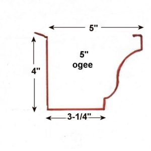 "5"" seamless gutter dimensions"