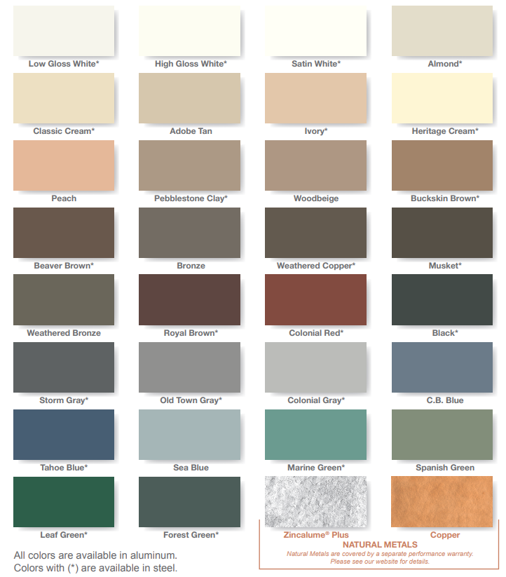 dunn seamless gutters color options
